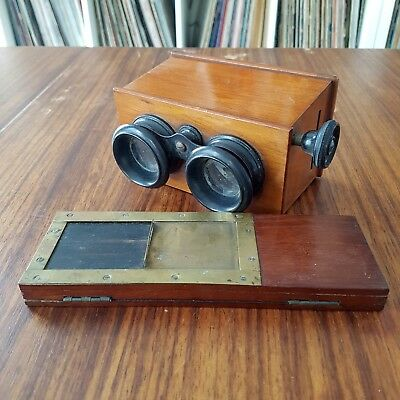 Wooden  stereo viewfinder 45x107 (visionneuse Jules Richard Verascope?) with box
