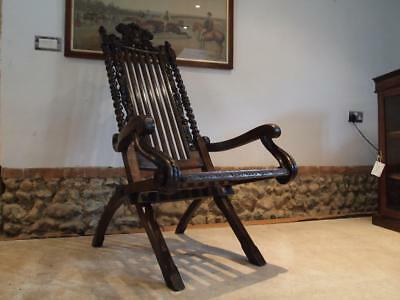 Chair Victorian carved Oak easy chair c1890