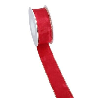 5m feines Taftband 6cm Lurexkante rot gold Taft Weihnacht Advent 60mm 1,00€//m