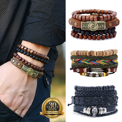 Mens Leather Bracelet Wristband Braided Rope Wrap Brown Bangle AU Seller NEW