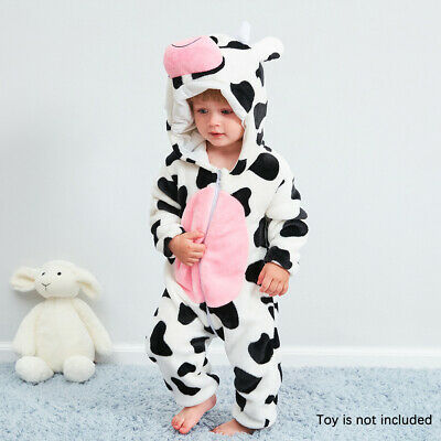 Baby Cow Pajamas Newborn Cute Alive Flannel Coverall 0-24 Months Kid Costume