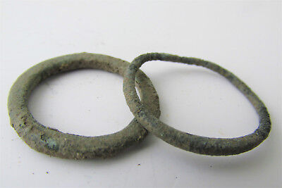 Rare Lot of 2 CELTIC Ancient Coin Bronze Ring / Proto Money
