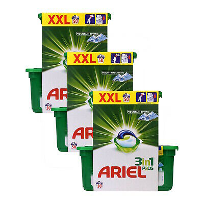 Ariel 3-in-1 Pods Mountain Spring - 50 Washes x 3 Packs (150 Washes in Total)