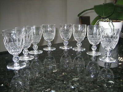 """Waterford Crystal Colleen Claret Wine Glasses 4 3/4"""" Signed x 8 Sparkling"""