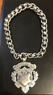 ANTIQUE VICTORIAN STERLING SILVER-SHIELD FOB  ON SILVER CHAIN,-28.90g