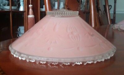 Ceiling Light Shade 3 Chain Art Deco ROSE PINK Frosted