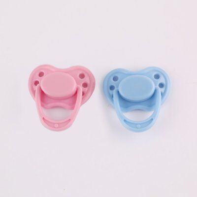 Magnetic Dummy Pink Blue Pacifier For Reborn Doll Accessory With  Magnet 2 pcs