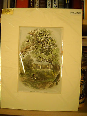 Vintage English Antique Print - The Castle From The Path Of Datchet