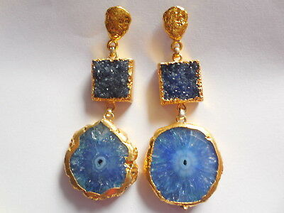 Solar Slice Earring, Druzy Agate Earring,Druzy Gold Edge Earring,Tribal Ethnic
