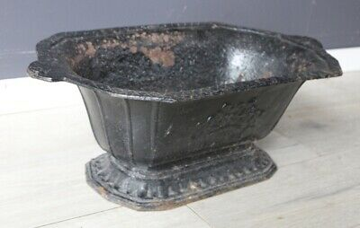 Antique French rustic vintage cast iron garden urn shaped planter
