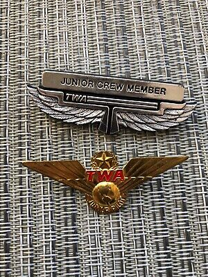 TWA JUNIOR PILOT Badge Junior Crew Member Badge Airline Pilot Wing Pins Lot  of 2