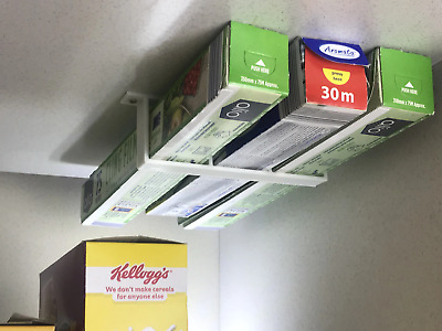 Tin Foil / /Cling Film /Grease Proof Paper Cupboard Under Shelf Holder In White