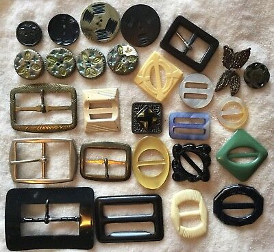 Lot of 26 Vintage 30s-50s Art Deco Buckles Buttons Celluloid Metal Sewing Crafts