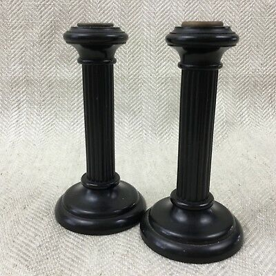 Antique Victorian Candlesticks Wooden EBONY Wood Turned Pair Column Pillar