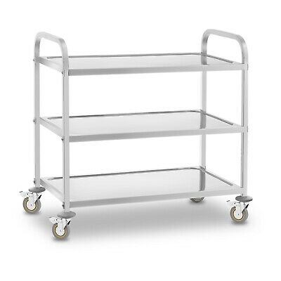Stainless Steel Serving Trolley Tea Trolley Kitchen Cart 3 Shelves Up To