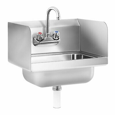 Hand Wash Basin Stainless Steel Sink Commercial Compact Unit Splash Guard