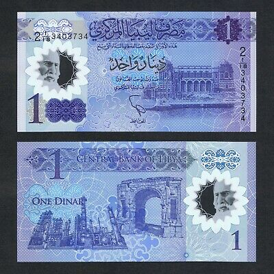 2019 Libya 1 Dinar Polymer P-New Unc > 8Th Anniv Of The Revolution Comm