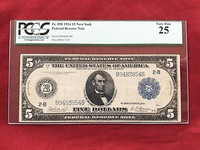 FR-850 1914 Series $5 New York Federal Reserve Note *PCGS 25 Very Fine*