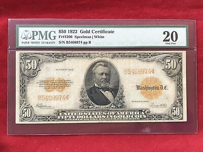 FR-1200  1922 Series $50 Fifty Dollar Gold Certificate  *PMG 20 Very Fine*