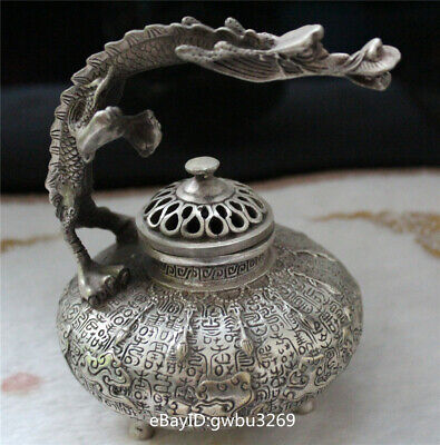 Rare Chinese Tibetan silver Hand-carved Dragon incense burner w Xuande Mark