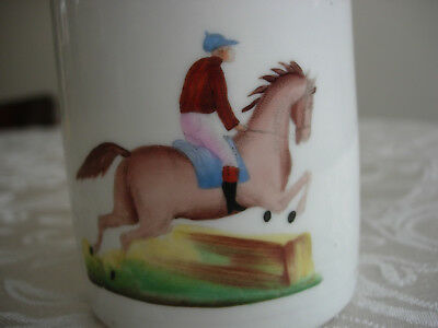 Antique Staffordshire Pottery Mug  Steeplechase Horse Racing Scene Early Mid 19C