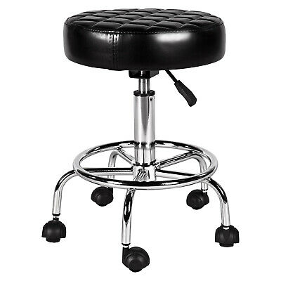Black Polyurethane Adjustable Height Salon Stool Sit Upholstered With