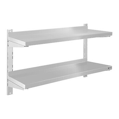 Floating Wall Shelf Set 2 Mounted Metal Display Shelves Adjustable Storage Unit