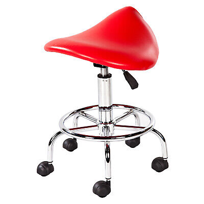In Red Polyurethane - With 5 Wheels New Stool Saddle Chair Adjustable Seat