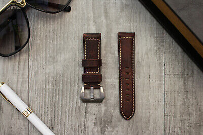 For OFFICINE PANERAI Luminor Marina 24mm Brown Lychee Leather Watch Strap Band
