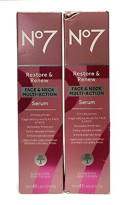 Boots No7 Restore and Renew Face & Neck Multi Action Big Serum 50ml Damaged Box