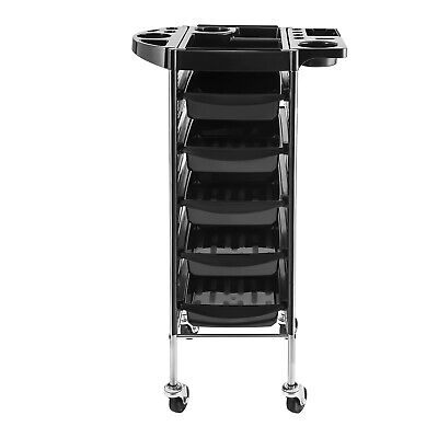 Drawers Four Wheels Professional Steel Trolley Salon Work Station Five