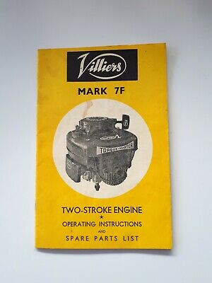 Vintage Villiers Mark 7F Two Stroke Engine Operating Instructions, Owners Manual
