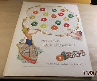 """Old Ad-<10""""x14"""">[Product]--[1955]-LIFE SAVERS--<FIVE FLAVORS>"""