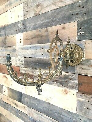 Antique French Gilt Metal Ornate Swing Arm Wall Gas Light Sconce Rococo Baroque