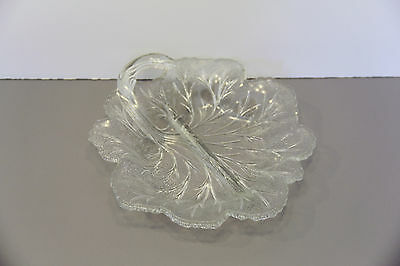 One Divided Relish Dish Pebble Leaf Twiggy - Indiana Glass Company Made in USA