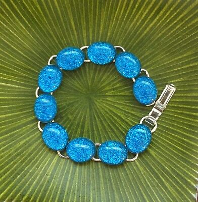 Beautiful Blue Crinkle  Fused Dichroic Glass Silver Plated Link Bracelet 7 3/4''