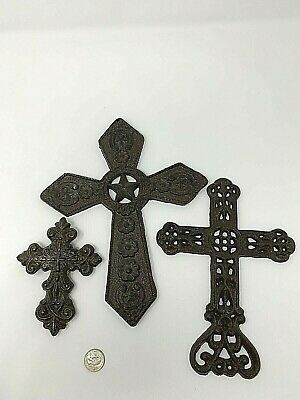 Solid Cast Iron California Mission Wall Cross Set of 3 Decorative Religious