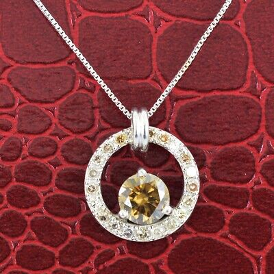 1.00 cts Champagne Diamond Solitaire Pendant With Diamond Accents.Great Bling!
