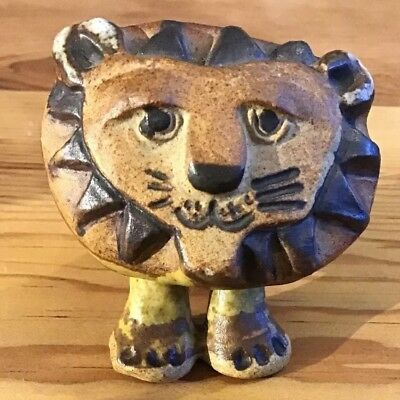 Tremar Cornwall Uk – Vintage Pottery Stoneware Lion. Tactile And Cute