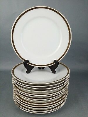 "Vtg 14pc Lot Noritake ""The Angora"" Luncheon Salad Plates White Gold Rim"