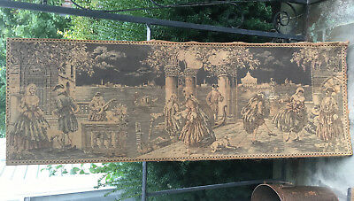 """Antique Vintage Italian Scene Wall Tapestry 53""""x 19"""" Made in Italy Large"""