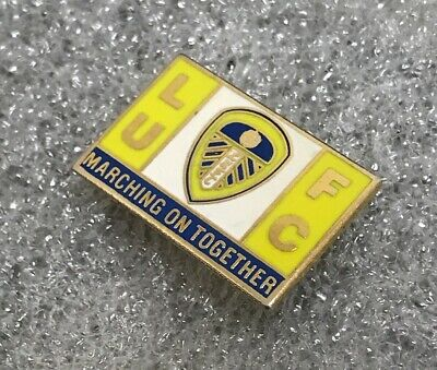 Very Rare Leeds United Supporter Enamel Badge - Marching On Together