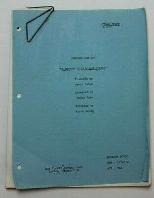 """SANFORD AND SON / TV Script """"A Matter of Life and Breath"""" tuberculosis screening"""