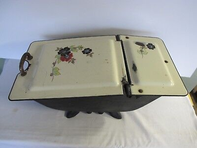 ANTIQUE CAST IRON COAL SCUTTLE BIN Box Porcelain HOD Fireside Fireplace Ash