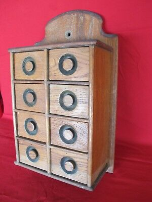 AAFA Antique Primitive Wood Hanging Wall Apothecary Spice Cabinet Chest 8 Drawer