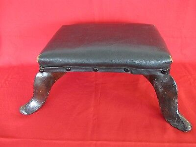 Antique Faux Black Leather Footstool Splayed Leg Foot Stool Small and Low