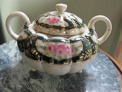 Antique Nippon Covered Footed Handled Sugar Bowl Green Gold Moriage