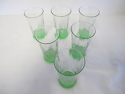 6 Vintage 3 1/4 Inch Tall Honeycomb Shot/Cordial Glasses Depression Green