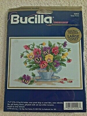Bucilla Embroidery TEACUP PANSIES 42023 with Gold Plated Needle & Large Chart