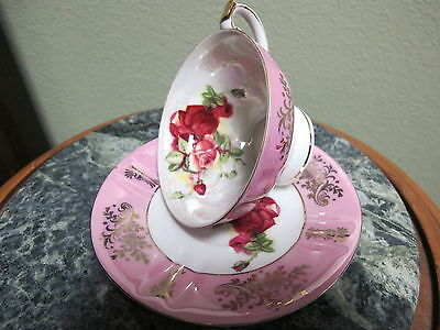 Royal Halsey Very Fine Tea Cup and Saucer Pink and Gold Trim Red Roses